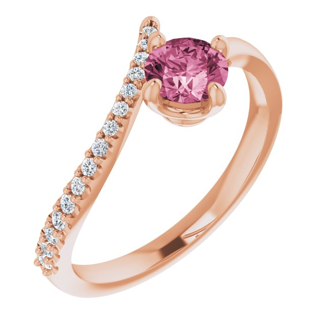 14K Rose Pink Tourmaline & 1/10 CTW Diamond Bypass Ring