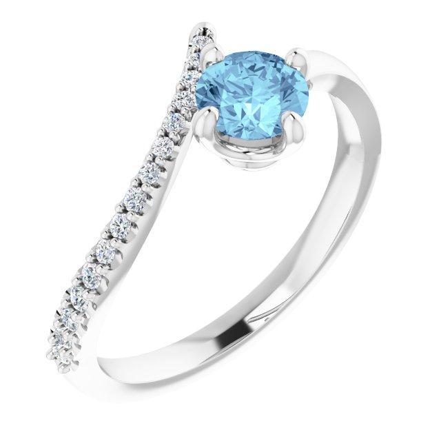 14K White Aquamarine & 1/10 CTW Diamond Bypass Ring