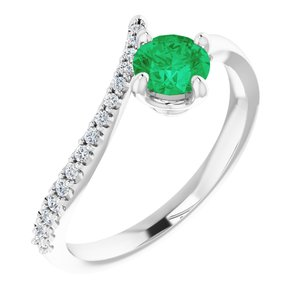 14K White Chatham® Created Emerald & 1/10 CTW Diamond Bypass Ring