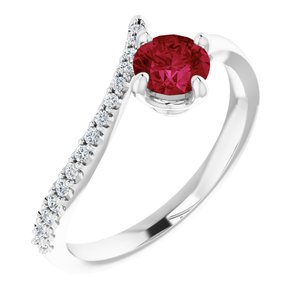 14K White Chatham® Created Ruby & 1/10 CTW Diamond Bypass Ring