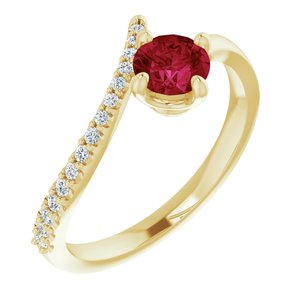 14K Yellow Chatham® Created Ruby & 1/10 CTW Diamond Bypass Ring