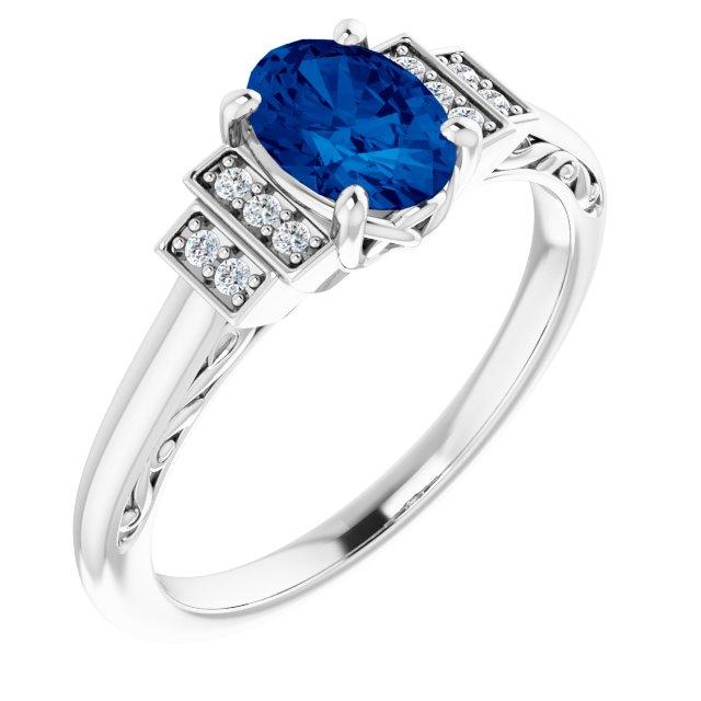 14K White Lab-Grown Lab-Grown Blue Sapphire & .05 CTW Diamond Ring