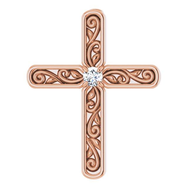 14K Rose .03 CTW Diamond Cross Pendant