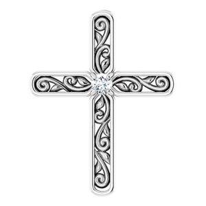 Sterling Silver .03 CTW Diamond Cross Pendant