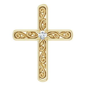 14K Yellow .03 CTW Diamond Cross Pendant