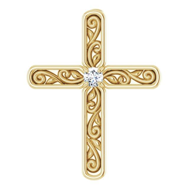 14K Yellow .03 CTW Diamond Cross Pendant