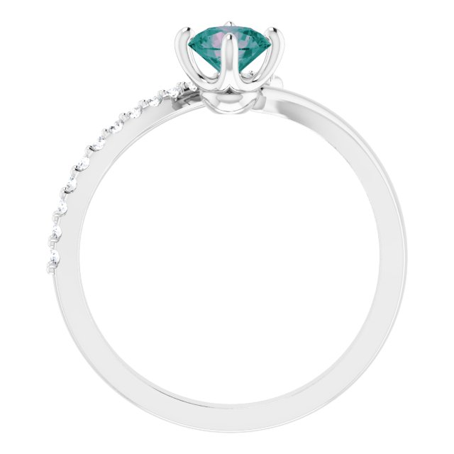14K White Lab-Grown Alexandrite & 1/10 CTW Diamond Bypass Ring