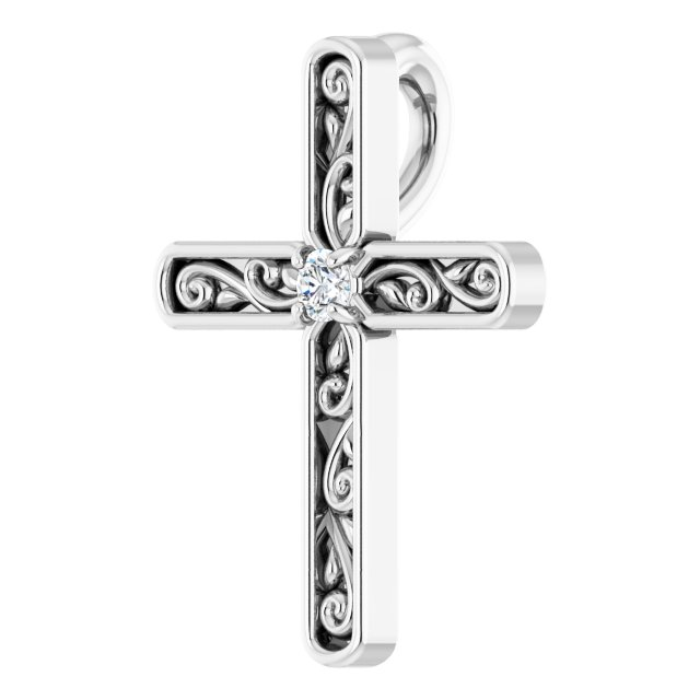 14K White .03 CTW Diamond Cross Pendant