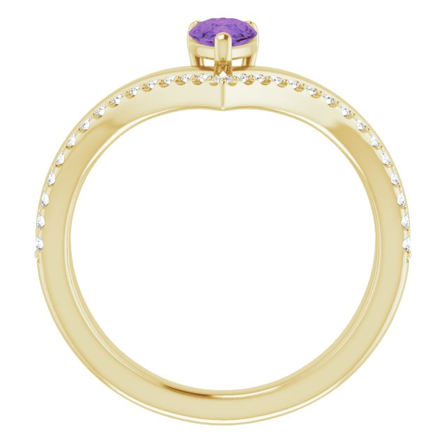 14K Yellow Amethyst & 1/6 CTW Diamond Ring
