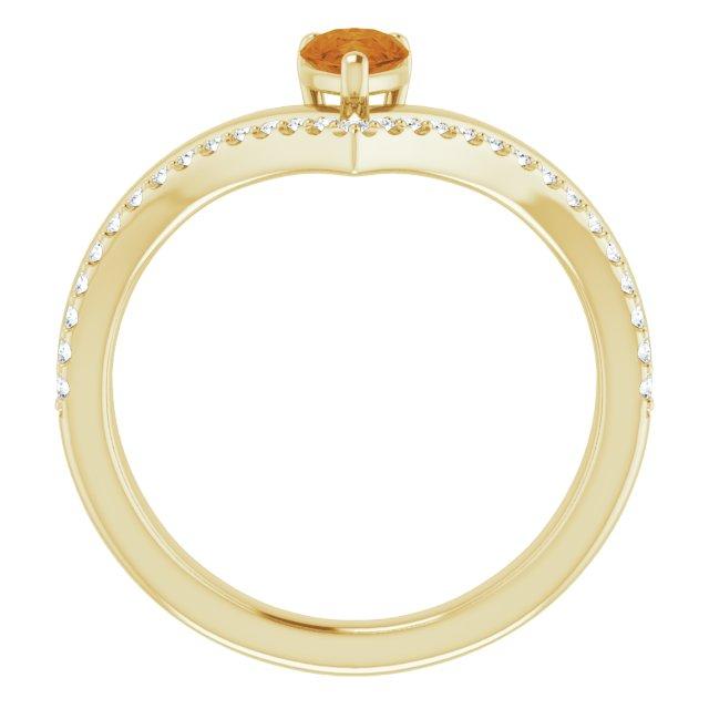 14K Yellow Citrine & 1/6 CTW Diamond Ring