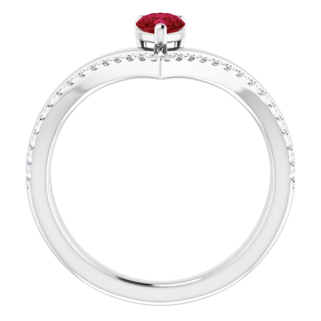 14K White Ruby & 1/6 CTW Diamond Ring