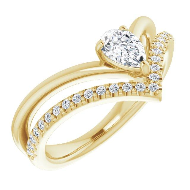 14K Yellow Sapphire & 1/6 CTW Diamond Ring