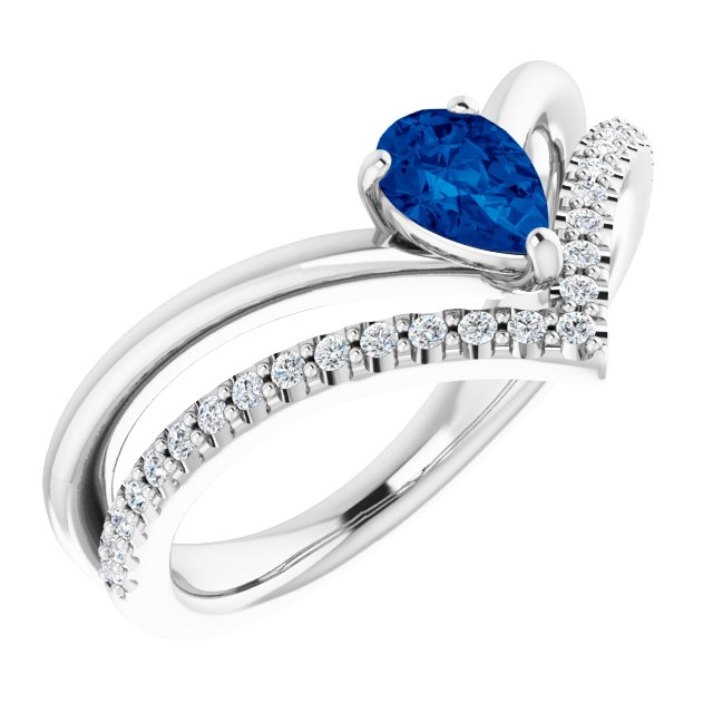 14K White Blue Sapphire & 1/6 CTW Diamond Ring