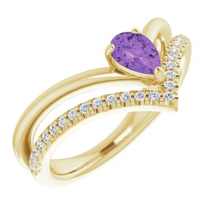 14K Yellow Amethyst & 1/6 CTW Diamond Ring