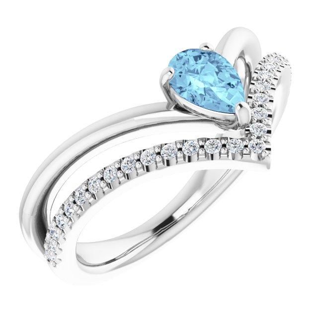 14K White Aquamarine & 1/6 CTW Diamond Ring