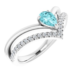14K White Blue Zircon & 1/6 CTW Diamond Ring