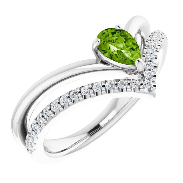 14K White Peridot & 1/6 CTW Diamond Ring