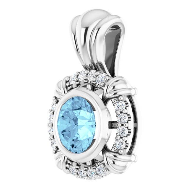 14K White Aquamarine & .08 CTW Diamond Pendant