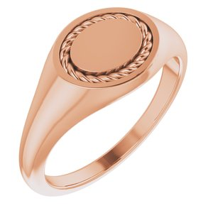 14K Rose 10.8x9.25 mm Oval Rope Signet Ring