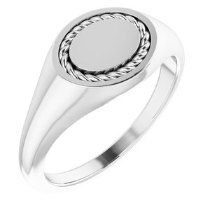Sterling Silver 10.8x9.25 mm Oval Rope Signet Ring