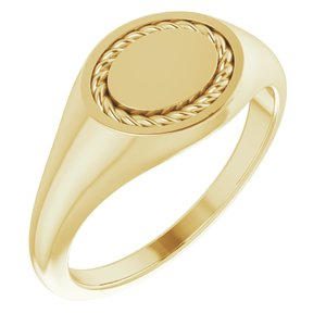 14K Yellow 10.8x9.25 mm Oval Rope Signet Ring