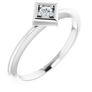 14K White 2.5 mm Round .06 CTW Diamond Stackable Geometric Ring