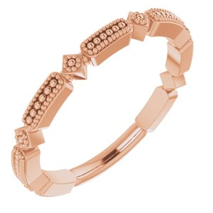 14K Rose Beaded Stackable Ring