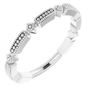 Sterling Silver Beaded Stackable Ring
