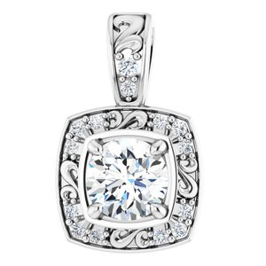 14K White 4 mm Round 1/3 CTW Diamond Pendant