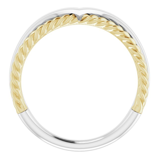 14K White & Yellow Negative Space Rope Ring