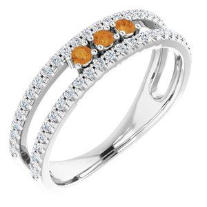 14K White Citrine & 1/4 CTW Diamond Ring