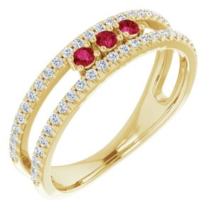14K Yellow Chatham® Lab-Created Ruby & 1/4 CTW Diamond Ring