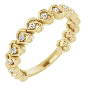 14K Yellow 1/8 CTW Diamond Accented Heart Anniversary Band