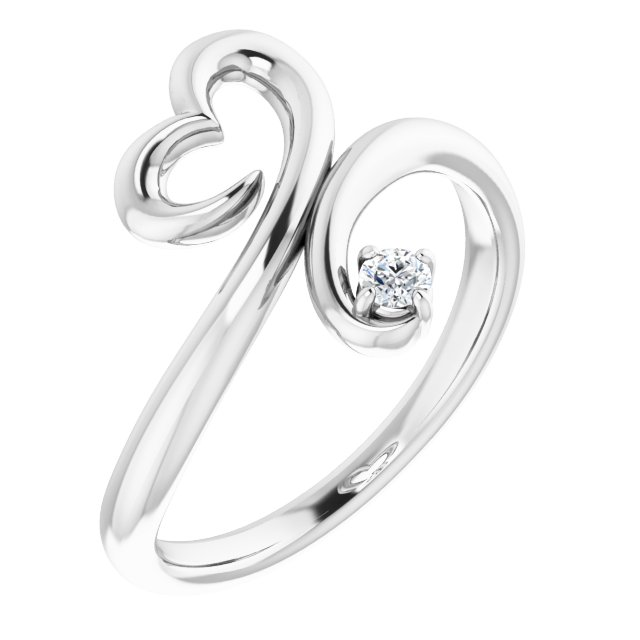 Sterling Silver .06 CTW Diamond Heart Ring