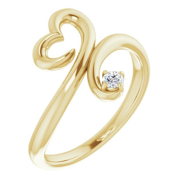 14K Yellow .06 CTW Diamond Heart Ring