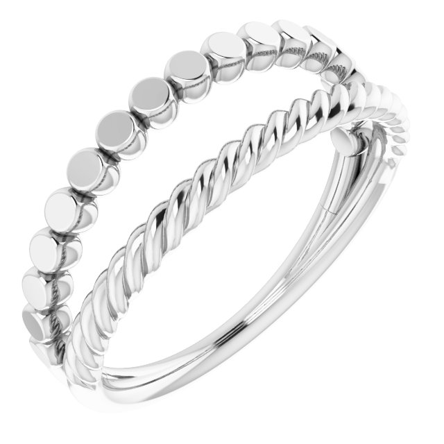 14K White Negative Space Rope Ring