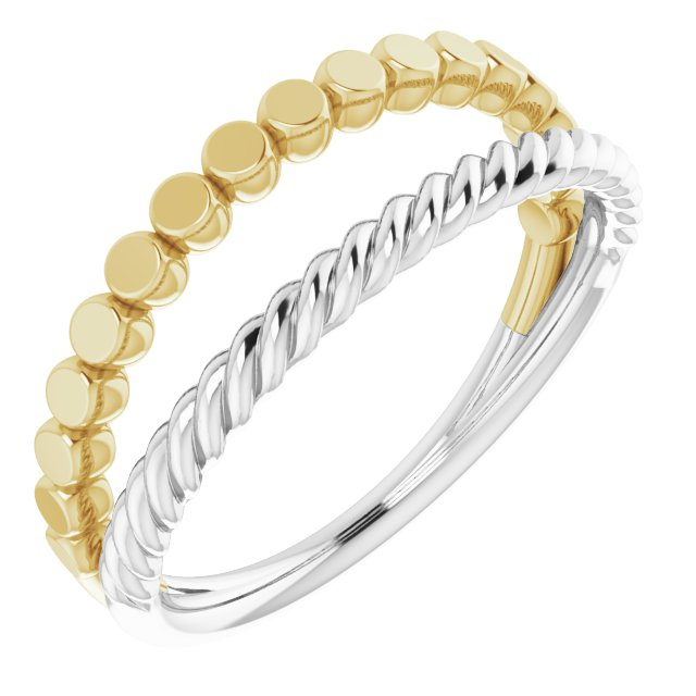 14K White/Yellow Negative Space Rope Ring
