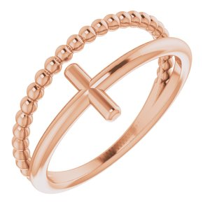 14K Rose Negative Space & Beaded Cross Ring