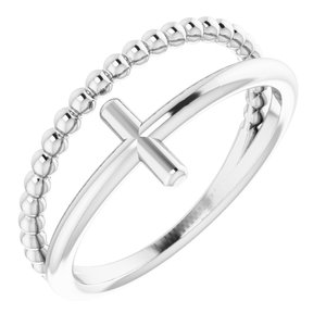 14K White Negative Space & Beaded Cross Ring