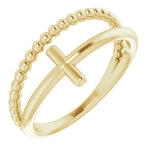 14K Yellow Negative Space & Beaded Cross Ring