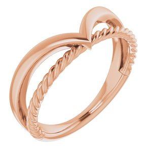 14K Rose Negative Space Rope Ring