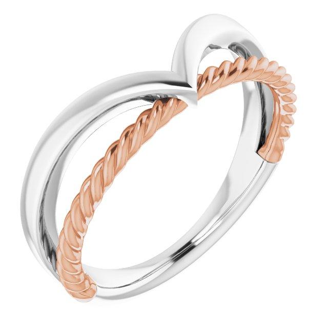 14K White & Rose Negative Space Rope Ring
