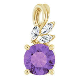 14K Yellow Amethyst & 1/10 CTW Diamond Pendant