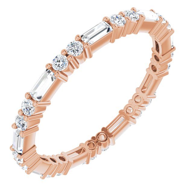 14K Rose 3/4 CTW Diamond Eternity Band Size 7
