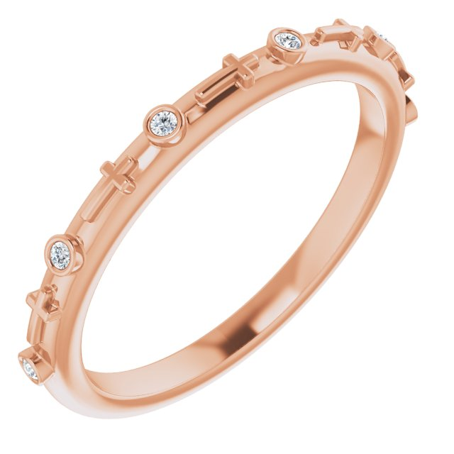 14K Rose .03 CTW Diamond Cross Ring