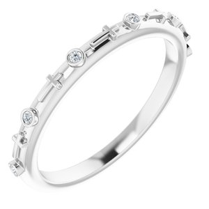 14K White .03 CTW Diamond Cross Ring