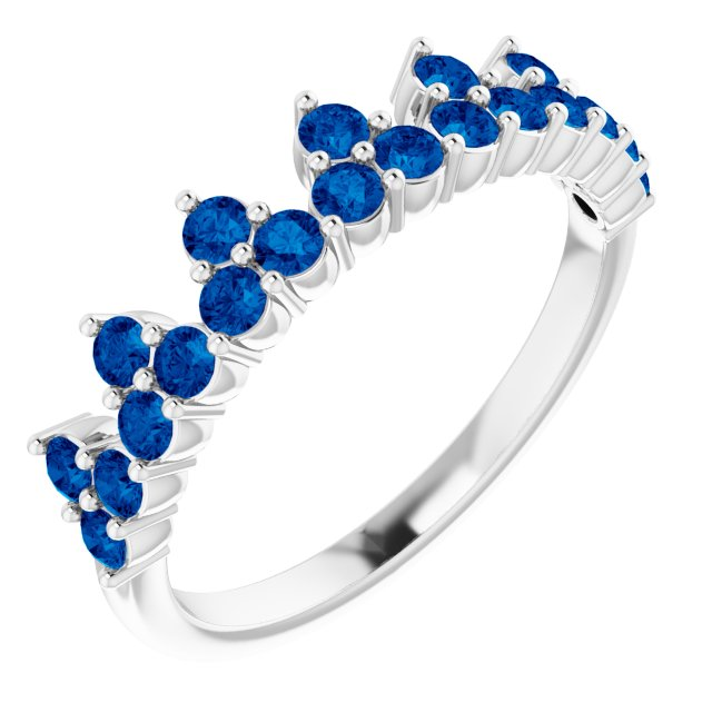 14K White Blue Sapphire Crown Ring