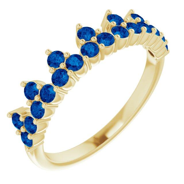 14K Yellow Blue Sapphire Crown Ring