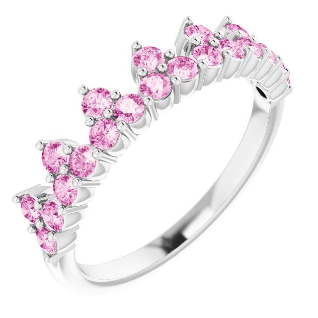 14K White Pink Sapphire Crown Ring
