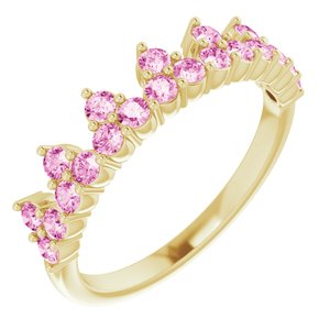 14K Yellow Pink Sapphire Crown Ring